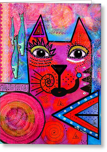Whimsical Mixed Media Greeting Cards - House of Cats series - Tally Greeting Card by Moon Stumpp