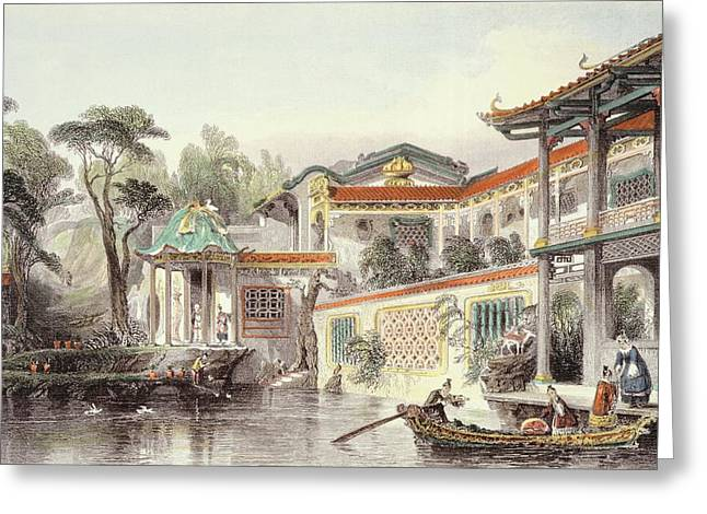 River Prints Greeting Cards - House Of Conseequa, A Chinese Merchant Greeting Card by Thomas Allom