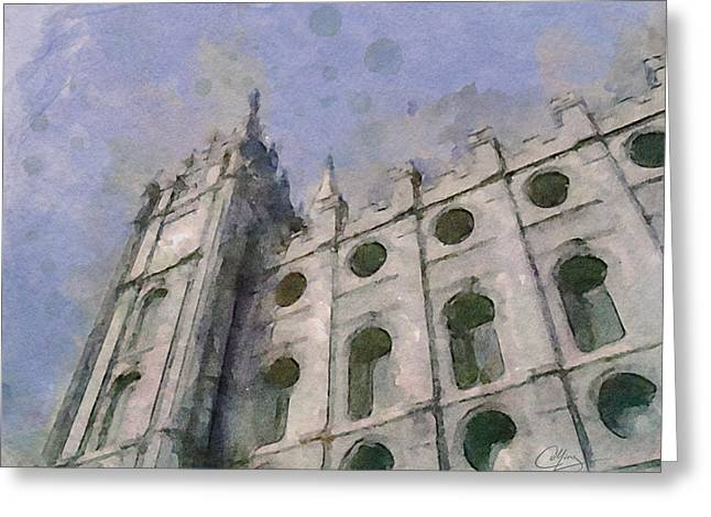 Salt Lake City Temple Digital Art Greeting Cards - House of Faith Greeting Card by Greg Collins