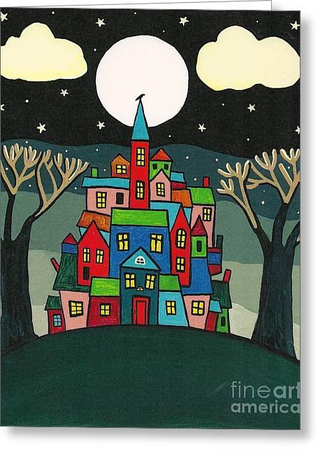 House Of The Crow Greeting Card by Margaryta Yermolayeva