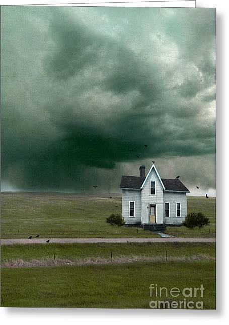 Clapboard House Greeting Cards - House on a Dirt Road in Storm Greeting Card by Jill Battaglia