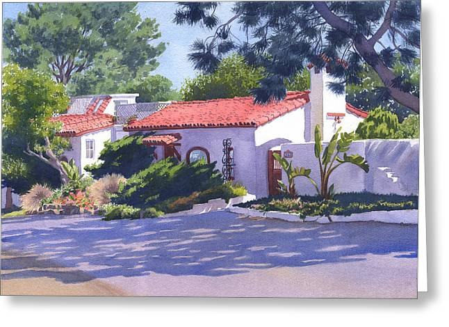 Portaits Greeting Cards - House on Crest Del Mar Greeting Card by Mary Helmreich