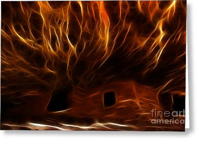 Cliff Dwellers Greeting Cards - House On Fire Ruin Greeting Card by Bob Christopher