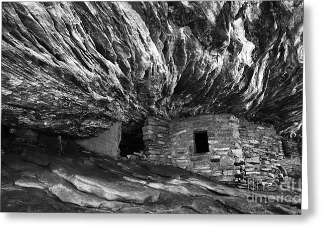 Ancient People Greeting Cards - House On Fire Ruin Utah Monochrome Greeting Card by Bob Christopher
