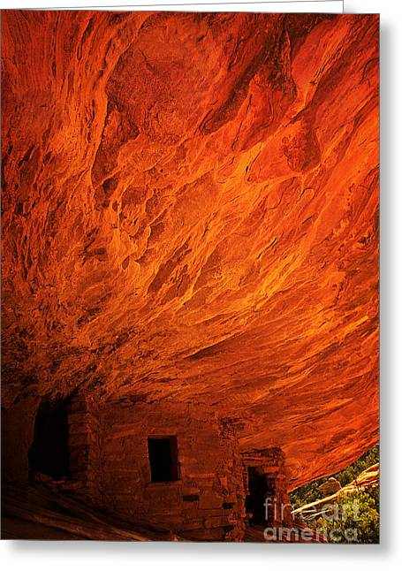 Slickrock Greeting Cards - House On Fire Ruins Greeting Card by Priscilla Burgers