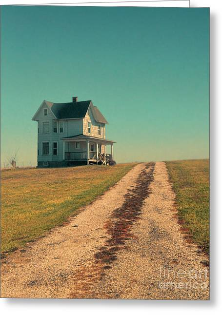 Gravel Road Greeting Cards - House on Gravel Road Greeting Card by Jill Battaglia