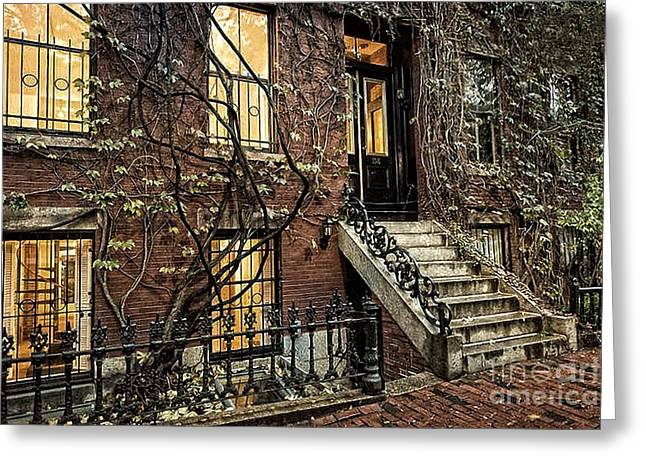 Stepping Stones Mixed Media Greeting Cards - House On Main Street Greeting Card by Michael Braham
