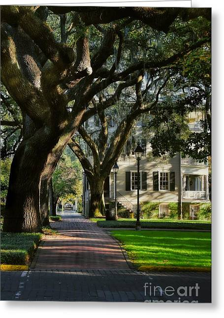 Dappled Light Greeting Cards - House on Pulaski Square Savannah Greeting Card by Henry Kowalski