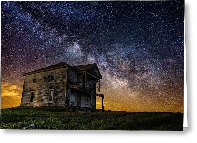 Afraid Greeting Cards - House on the Hill Greeting Card by Aaron J Groen