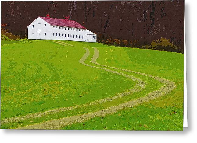 Residential Structure Digital Greeting Cards - House On The Hill Greeting Card by Brian Stevens