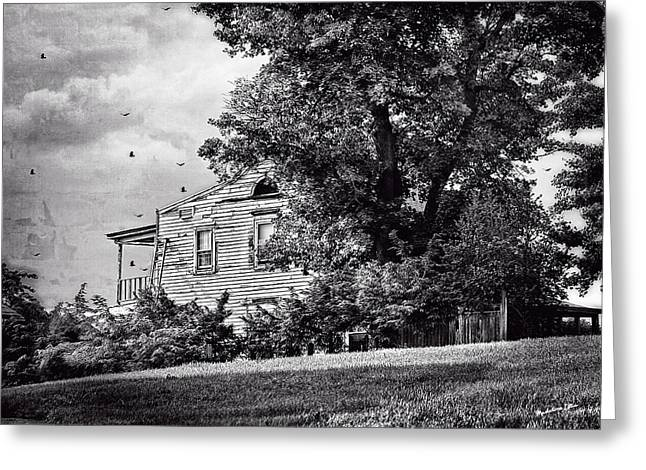 Dilapidated Houses Greeting Cards - House On The Hill in bw Greeting Card by Madeline Ellis