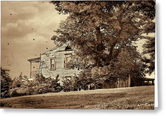 Dilapidated Houses Greeting Cards - House On The Hill in sepia Greeting Card by Madeline Ellis