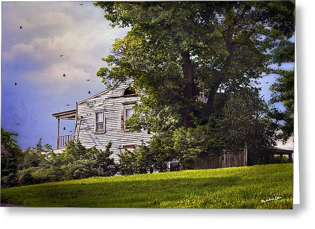Dilapidated Houses Greeting Cards - House On The Hill Greeting Card by Madeline Ellis