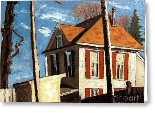 Old Street Greeting Cards - House On The Hill On Spring Street Greeting Card by Charlie Spear