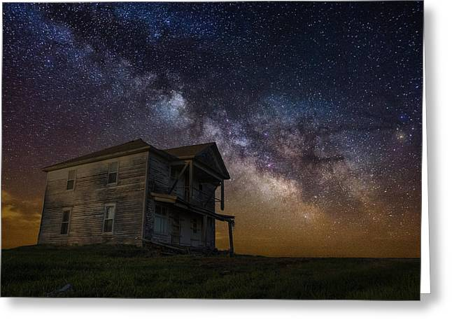 Astrophoto Greeting Cards - House on the Hill   remastered Greeting Card by Aaron J Groen