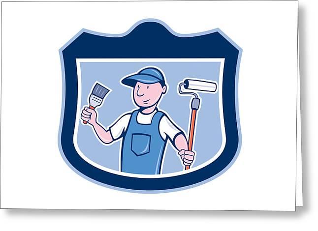 Tradesman Greeting Cards - House Painter Holding Paintbrush Roller Cartoon Greeting Card by Aloysius Patrimonio