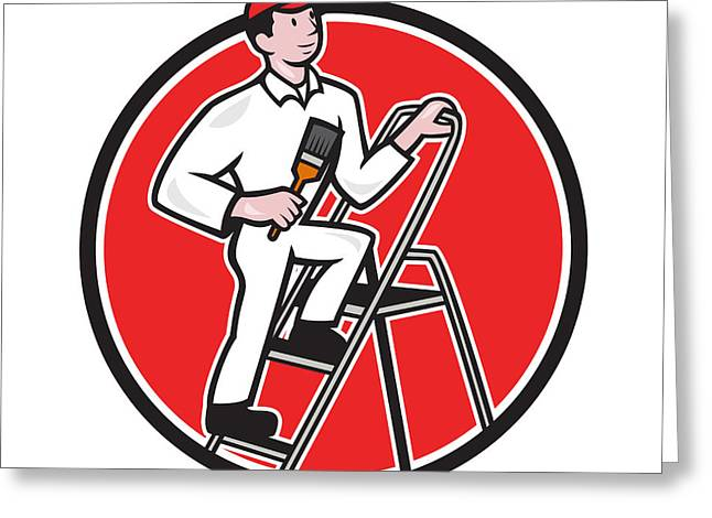 House Painter Paintbrush On Ladder Cartoon Greeting Card by Aloysius Patrimonio