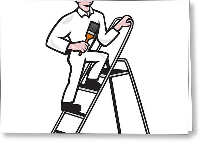House Painter Standing On Ladder Cartoon Greeting Card by Aloysius Patrimonio