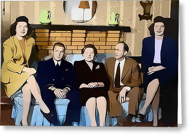 1950s Portraits Greeting Cards - House Party Greeting Card by Steven Weakley