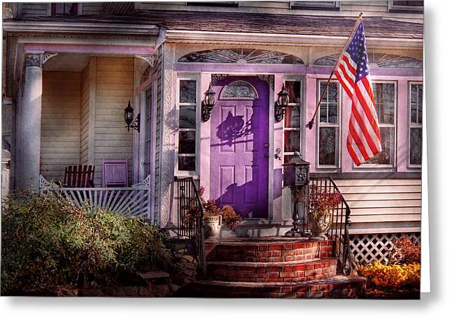 House - Porch - Cranford Nj - Lovely In Lavender  Greeting Card by Mike Savad