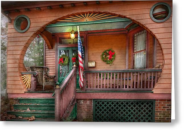 Patriotic Scenes Greeting Cards - House - Porch - Metuchen NJ - That yule tide spirit Greeting Card by Mike Savad