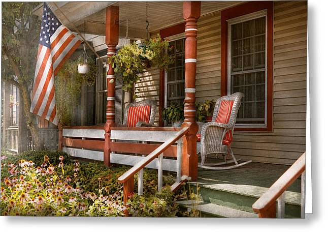 Hazy Summer Day Greeting Cards - House - Porch - Traditional American Greeting Card by Mike Savad