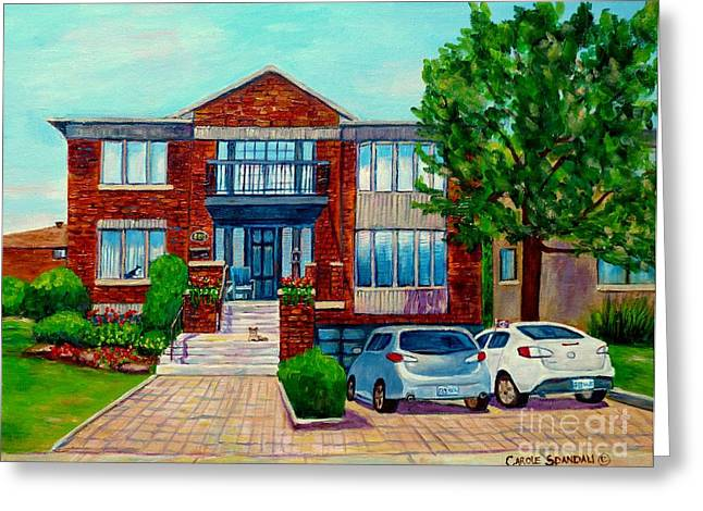 Dog In Window Greeting Cards - House Portrait-house  Art-commissioned  Montreal Paintings-carole Spandau Greeting Card by Carole Spandau