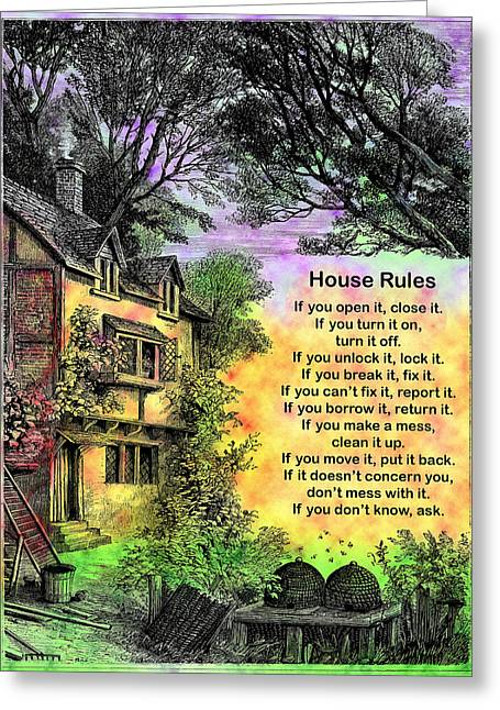 House Rules Greeting Card by Mike Flynn