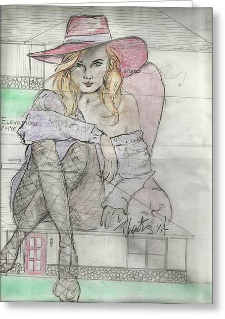 Fashion Design Drawings Greeting Cards - House Sitting Plans Greeting Card by P J Lewis