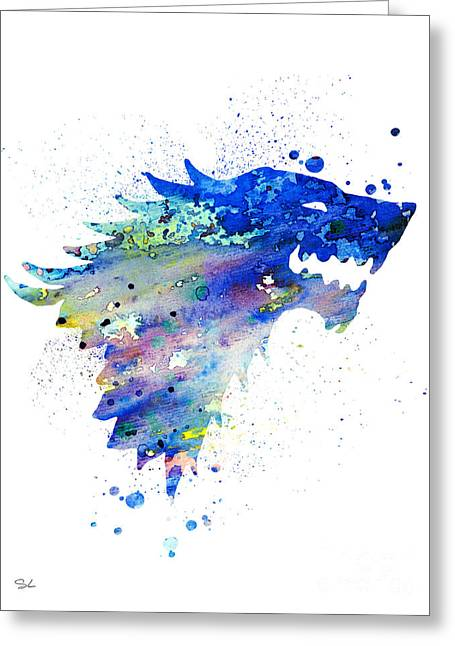 Watercolor Print Greeting Cards - House Stark Greeting Card by Luke and Slavi