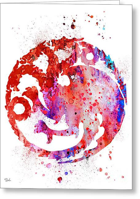 Houses Posters Greeting Cards - House Targaryen Greeting Card by Luke and Slavi