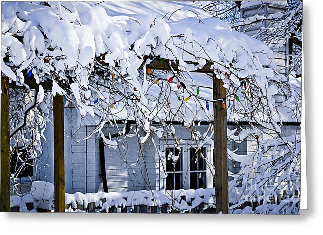 Snowstorm Greeting Cards - House under snow Greeting Card by Elena Elisseeva