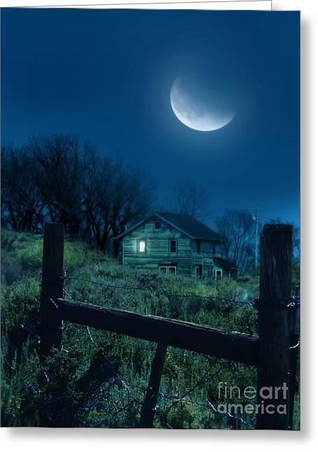 Run Down Greeting Cards - House Under the Moon Greeting Card by Jill Battaglia