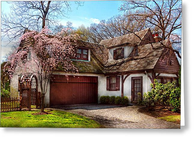 White Frame House Greeting Cards - House - Westfield NJ - Who doesnt love spring  Greeting Card by Mike Savad