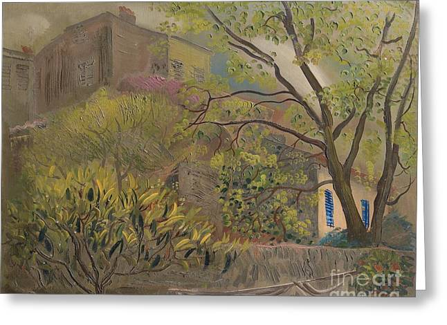 Strength Paintings Greeting Cards - House With A Pink Roof Greeting Card by Celestial Images