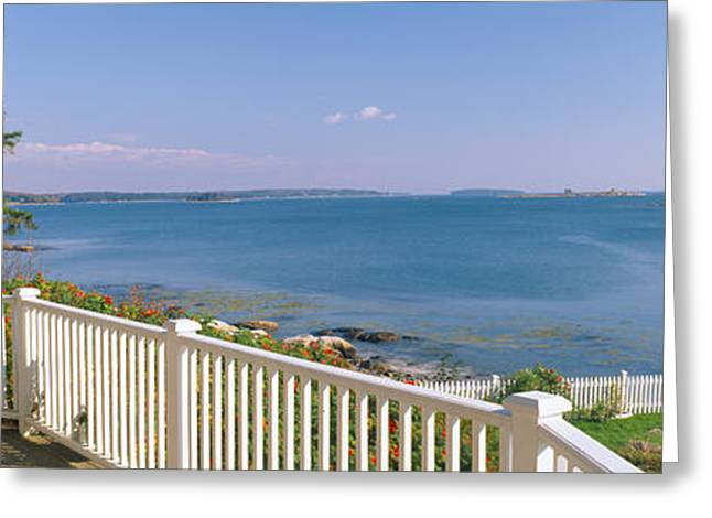 New England Ocean Greeting Cards - House With A View Of Spruce Head Greeting Card by Panoramic Images