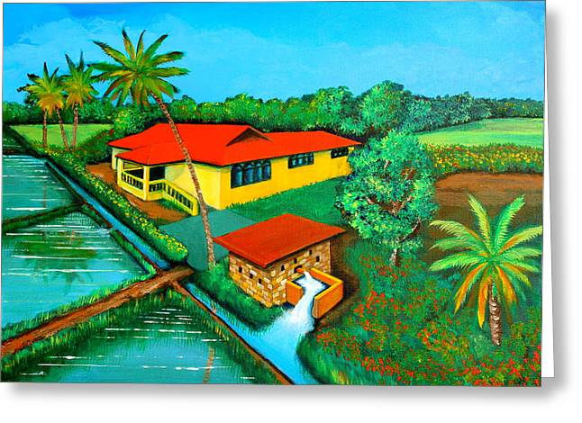 Cyril Maza Greeting Cards - House with a Water Pump Greeting Card by Cyril Maza