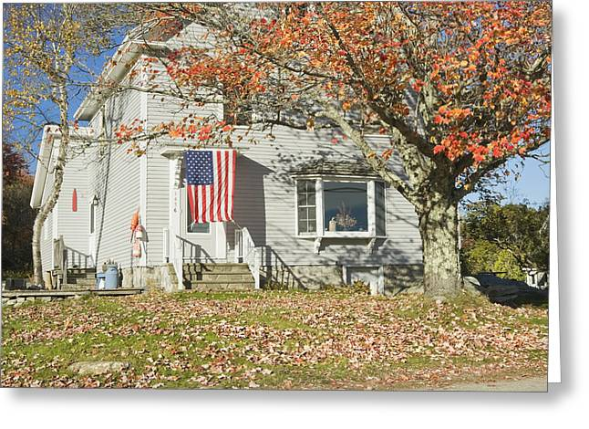 Old Maine Houses Greeting Cards - House with American Flag Greeting Card by Keith Webber Jr
