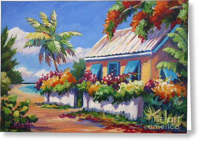 Banana Paintings Greeting Cards - House with Blue Shutters Greeting Card by John Clark