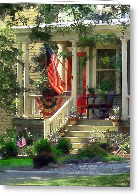 American Flag Greeting Cards - House With Bunting and Flag Greeting Card by Susan Savad