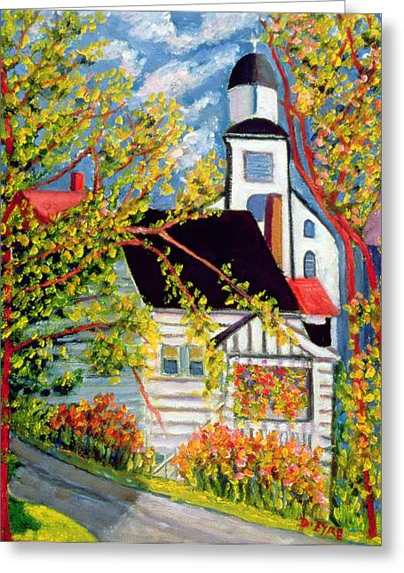 Clapboard House Greeting Cards - House with Church Badeck Greeting Card by Patricia Eyre