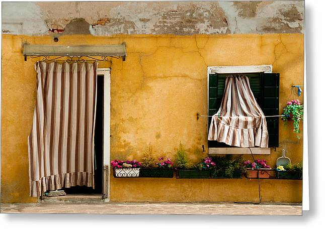 Old House Photographs Greeting Cards - House With Drapes Burano Italy Greeting Card by Xavier Cardell