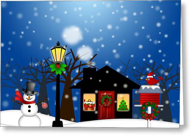 Party Hat Posters Greeting Cards - House with Lamp Post  Snowman and Birdhouse Christmas Decoration Greeting Card by JPLDesigns