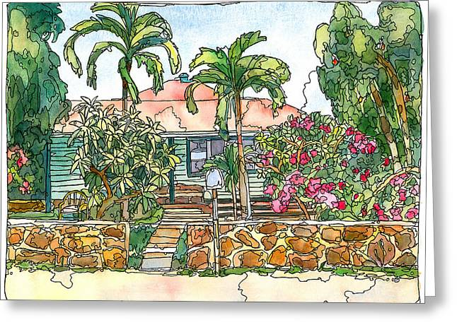 Maui Mixed Media Greeting Cards - House with Lava Rock Wall Greeting Card by Stacy Vosberg