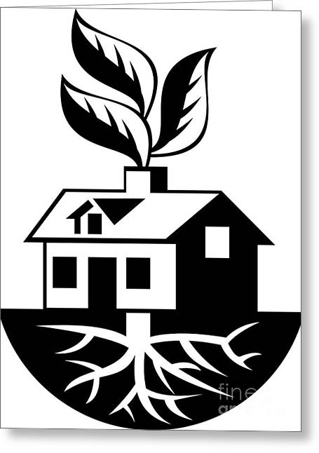 Houses Greeting Cards - House With Roots and Leaves Sprout  Greeting Card by Aloysius Patrimonio