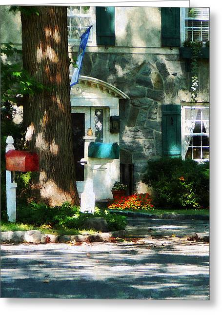 Dappled Sunlight Greeting Cards - House With Turquoise Shutters Greeting Card by Susan Savad