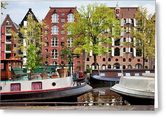 Old Home Place Greeting Cards - Houseboats and Houses on Brouwersgracht Canal in Amsterdam Greeting Card by Artur Bogacki
