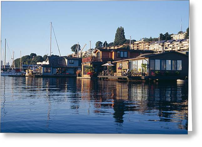 Water Vessels Greeting Cards - Houseboats In A Lake, Lake Union Greeting Card by Panoramic Images