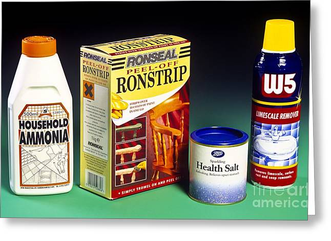 Household Acids And Bases Greeting Card by Martyn F. Chillmaid