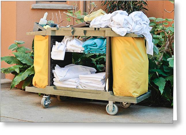 Housekeeping Greeting Cards - Housekeeping trolley Greeting Card by Tom Gowanlock